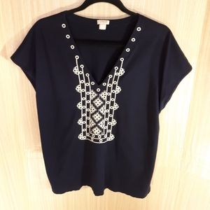 J. Crew embroidered sleeveless top. Size large